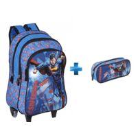 SUPERMAN - Sac à dos avec roulettes bleu - H 43 cm - OD104491 + Trousse ovale bleu - L 22 cm - OD104501