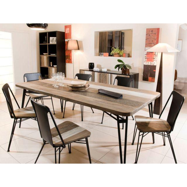 MACABANE Table à manger - Marron - 10 personnes