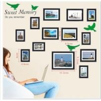 Photo Frame - Sweet Memory Black - Walplus Immense Sticker Mural Cadre Photo Oiseau Moderne Art DÉCAL DÉCOR