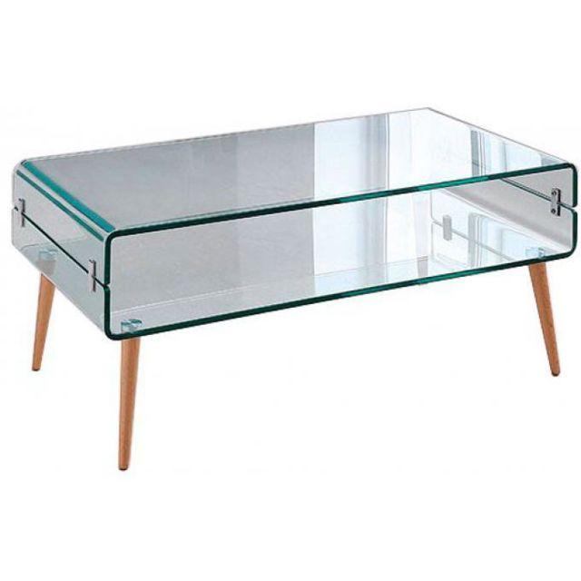 Declikdeco Table Basse Verre Bois Loona