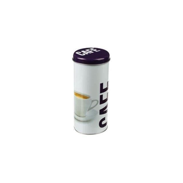 Boite ronde à capsules en relief - 17,8 x 7,8 cm - Métal - Blanc