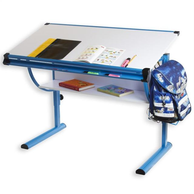 idimex bureau enfant colier junior blue table dessin r glable en hauteur et plateau. Black Bedroom Furniture Sets. Home Design Ideas