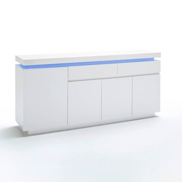 Inside 75 Buffet Ocean laqué blanc brillant 4 portes 2 tiroirs Led inclus