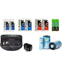Uniross - Pack chargeur universel + 18 accus rechargeables et convertisseurs 1,2v et 9v - Aa-aaa-lr14-LR20-LR22