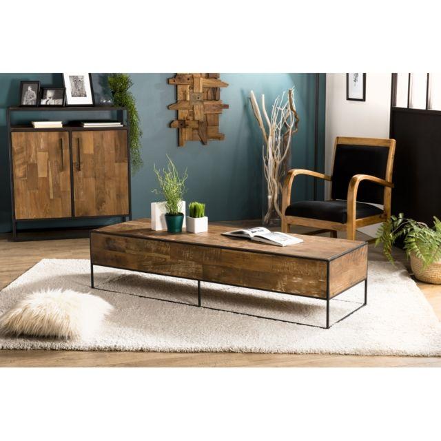 MACABANE Table basse rectangulaire 150x50cm Teck recyclé et métal