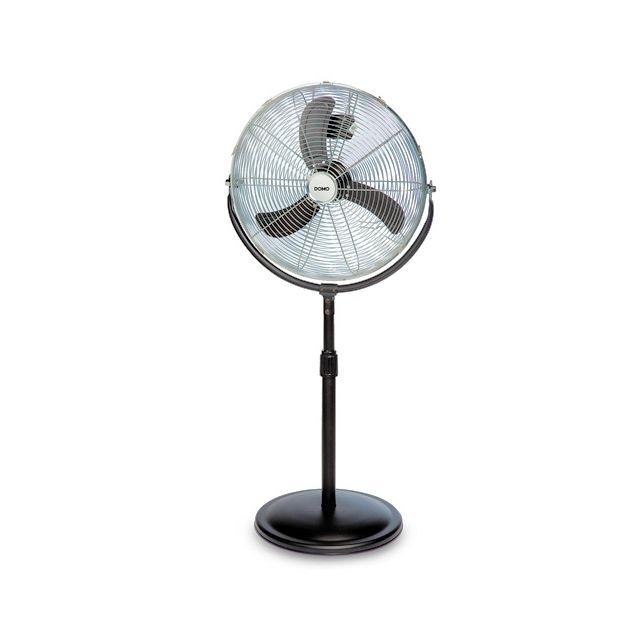 Domo Ventilateur Rétro sur pied - Entièrement en métal noir et chromé - Orientation et hauteur réglable - Diamètre 45 cm
