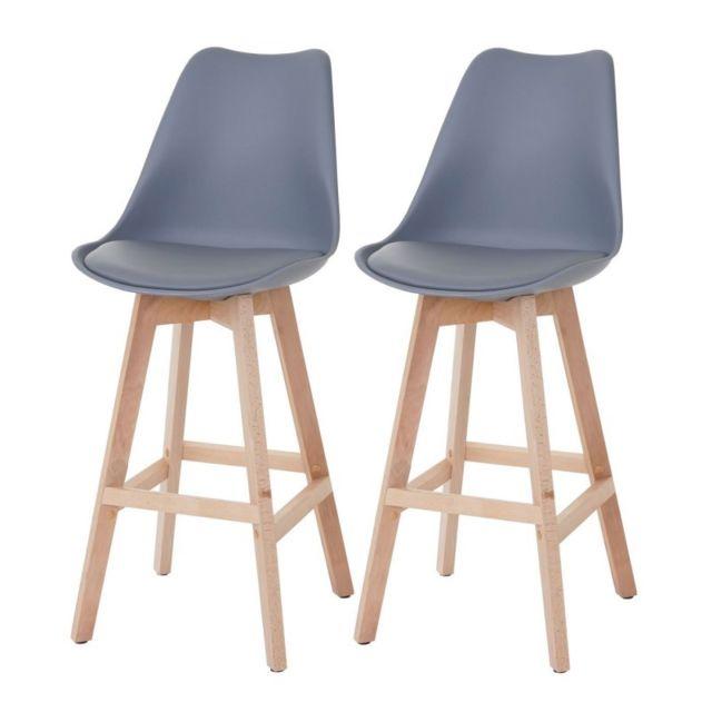 decoshop26 lot de 2 tabourets de bar style scandinave gris tdb04018 pas cher achat vente. Black Bedroom Furniture Sets. Home Design Ideas