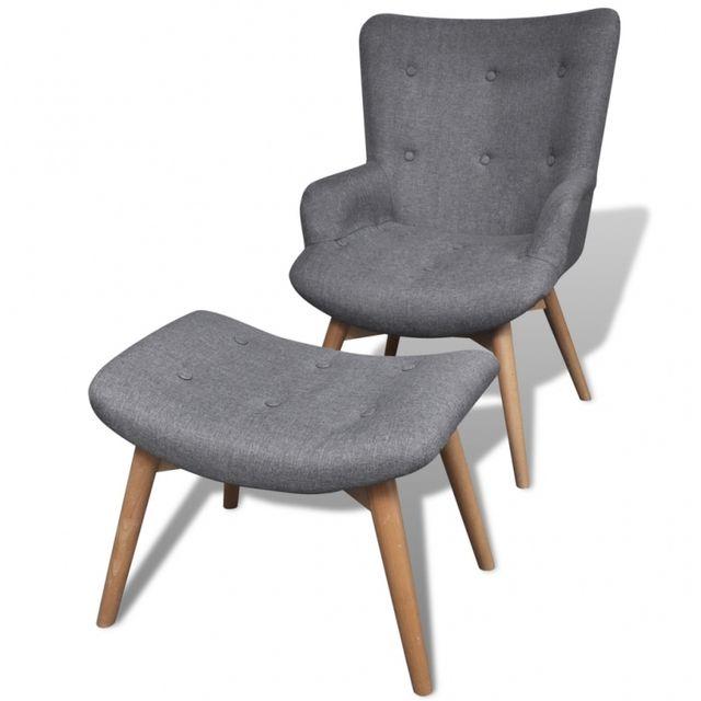 casasmart fauteuil gris confort avec repose pieds pas cher achat vente fauteuils. Black Bedroom Furniture Sets. Home Design Ideas
