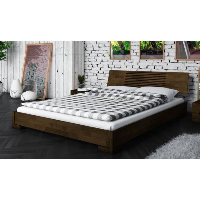 Lit bas wenge marron design en bois 140 x 200 cm - Zenno