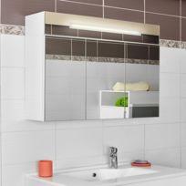 CREAZUR - Armoire miroir salle de bain ARMIROIR - 90 cm - 3 portes