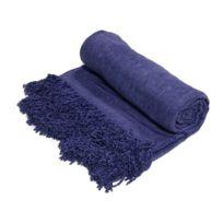 Mon Beau Tapis - Plaid à franges en viscose bleu 130x150cm Bangalore