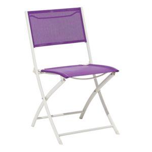 carrefour chaise pliante acier et textil ne violette lcbt4412 pas cher achat vente. Black Bedroom Furniture Sets. Home Design Ideas