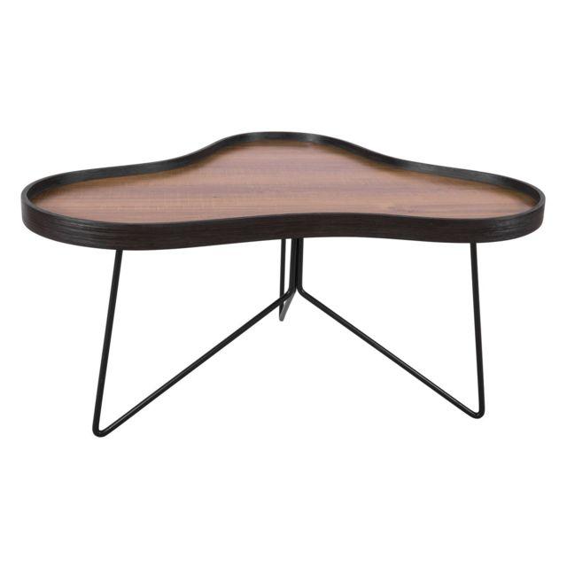 Leitmotiv Table basse rétro Flow - L. 80 x H. 41 cm - Noir