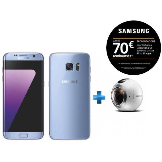 Samsung - Galaxy S7 Edge Bleu + Camera Gear 360 pour Réalité Virtuelle