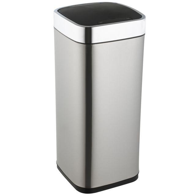 ROBBY poubelle à ouverture automatique en inox 40l rectangulaire - upsense inox 40l rec