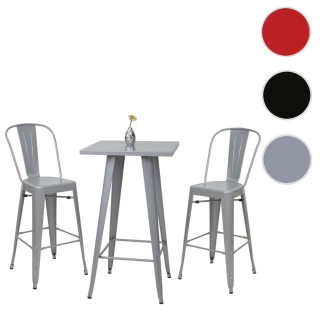 Mendler Set table mange-depout + 2x tabouret de bar Hwc-a73, chaise/table de bar, design industriel ~ gris