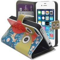 Caseink - Coque Housse Etui Folio Smart Cover iPhone 4/4S à motif Hibou & Biche