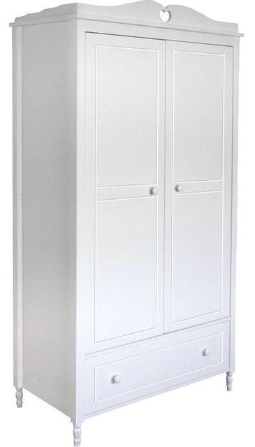 Comforium Armoire 2 portes design rustique coloris blanc