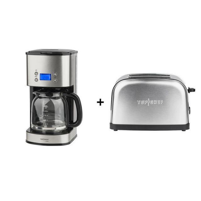 TOP CHEF TOPC558 + TOPC534 CAFETIERE PROGRAMMABLE 1.8L ET GRILLE PAIN