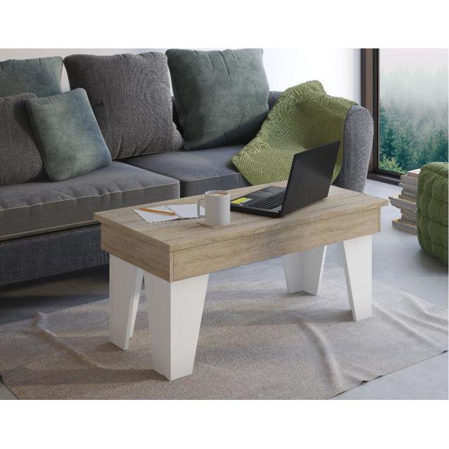 Comfort Table basse relevable,KL,Chêne clair/Blanc mat