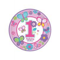 Amscan - Assiettes anniversaire 1 an fille fleurs x8