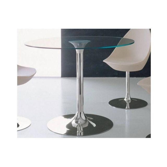Inside 75 Table repas rond Armony en verre et acier chromé diamètre 100 cm