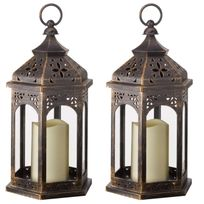 Smart Garden - Lot de 2 lanternes à piles Led en métal à hauteur 32cm Marocaine