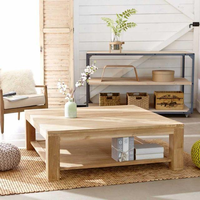 bois dessus bois dessous table basse carr e en bois de teck 120 pas cher achat vente. Black Bedroom Furniture Sets. Home Design Ideas