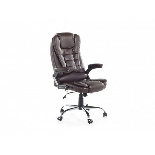 Beliani Chaise de bureau en cuir marron - Royal Ii