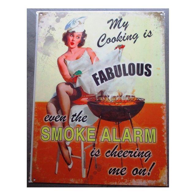 Universel Plaque pin up et barbecue smoke alarm deco cuisine bar