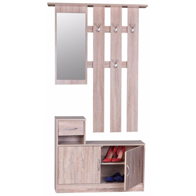 comforium ensemble vestiaire avec miroir porte manteau et meuble chaussures coloris ch ne. Black Bedroom Furniture Sets. Home Design Ideas