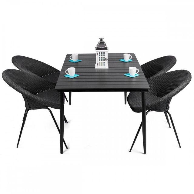 Homekraft Leon - salon de jardin table + 4 chaises rondes en rattan Noir