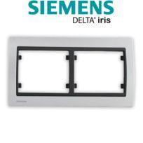 Siemens - Plaque Double Horizontale Texturé Aluminium Delta Iris