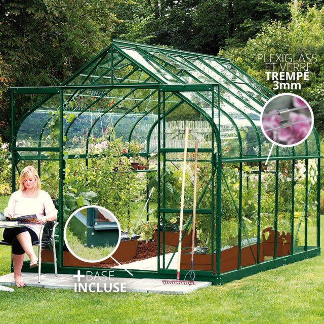 LAMS - Serre en verre trempé 3mm DIANA 9,85 m² avec base - Verte ...