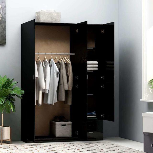 Vidaxl Garde-robe à 3 Portes Noir Brillant Aggloméré Armoire à Vêtements