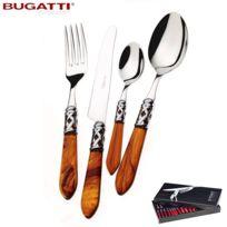 Bugatti Italy - Ménagère 24 pièces inox avec manche Tortue et bague Finition Chromée S4250-ALC-T-Aladdin par Bugatti