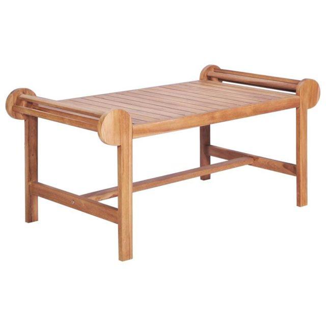 Vidaxl Teck Massif Table Basse de Salon Canapé Meuble Jardin Patio Terrasse