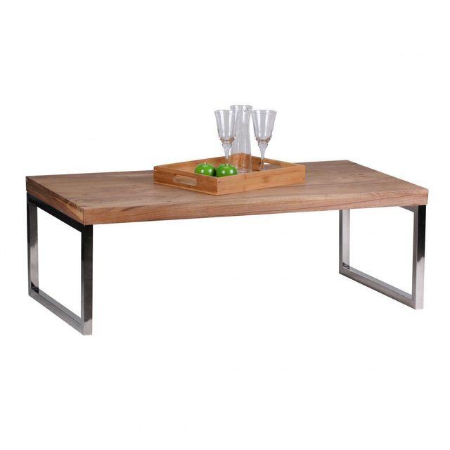 COMFORIUM Table basse 120 x 60 cm en bois massif d'acacia avec piétement chromé