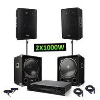 Ibiza - Pack sono - 2 caissons 2x1200W + 2 enceintes 2x600W + Amplificateur sono 2x1000W