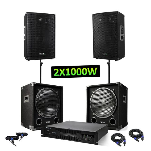 Ibiza Pack sono - 2 caissons 2x1200W + 2 enceintes 2x600W + Amplificateur sono 2x1000W
