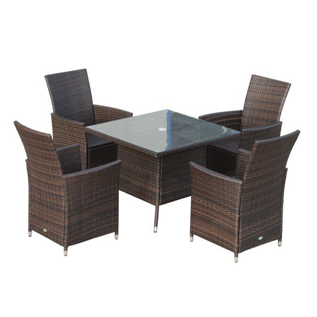 outsunny ensemble salon de jardin 4 fauteuils avec coussins assise table carr e plateau. Black Bedroom Furniture Sets. Home Design Ideas