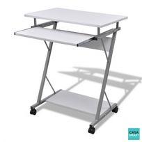 Casasmart - Bureau pour ordinateur à roulettes / blanc