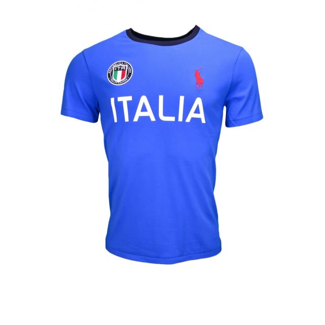 9083972b5f6902 Ralph Lauren - T-shirt Italie Jo 2016 bleu pour homme - pas cher Achat    Vente Tee shirt homme - RueDuCommerce