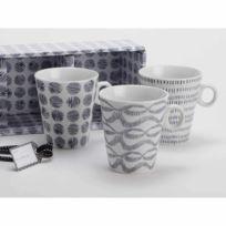 Amadeus - Coffret 3 mugs assortis en porcelaine blanc et bleu Mineral
