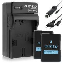 mtb more energy® - 2 Batteries + Chargeur Auto/Secteur, pour Nikon En-el14 / Nikon Df / Coolpix P7800, D3200, D5200, D5300 voir liste