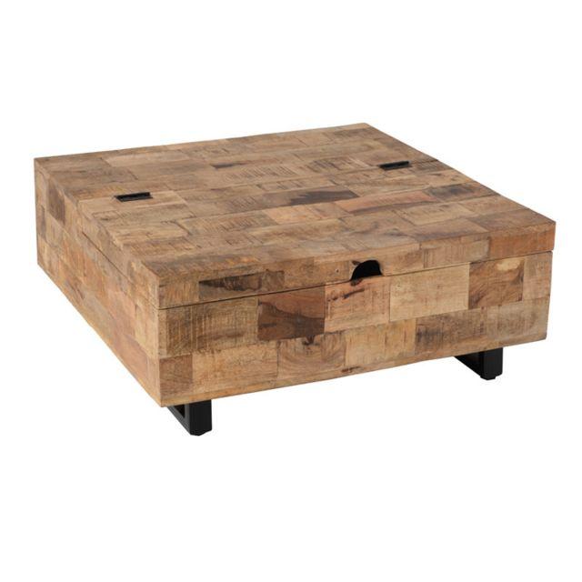 Table Basse En Bois Pas Cher.Grande Table Basse Carree Coffre En Bois Metal Uniona
