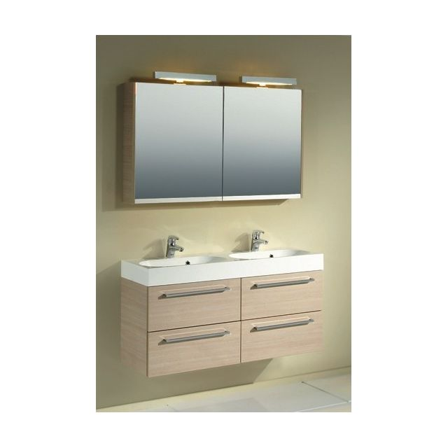 Riho Ensemble meuble & lavabo Slimline Set 75 en bois laqué brillant 120x38 H 60,5 cm