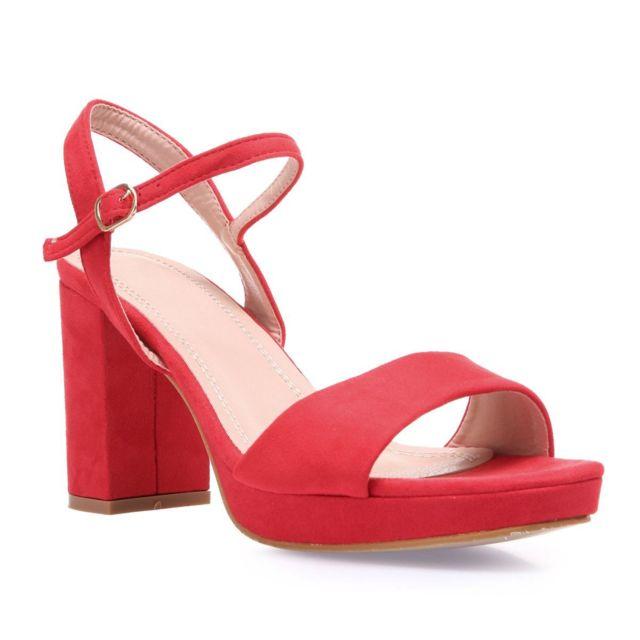 Lamodeuse Sandales rouges à talon carré en suédine pas