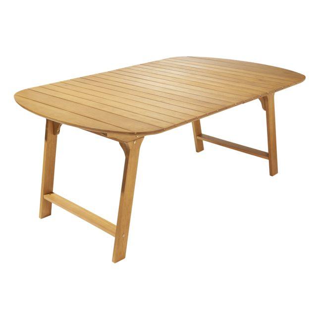 HYBA - Table de jardin ovale MELO - Bois - Marron - pas cher Achat ...