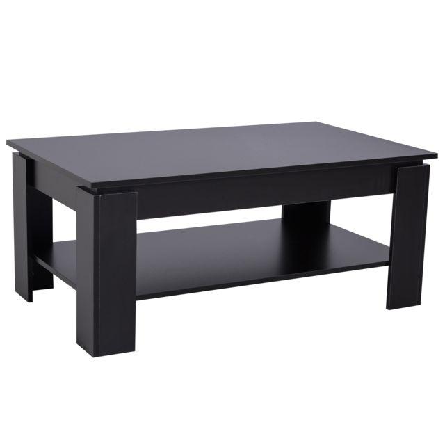 HOMCOM Table basse rectangulaire design contemporain avec étagère dim. 110L x 65l x 47H cm panneaux particules noir